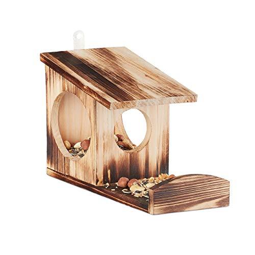 Relaxdays Eichhörnchen Futterhaus, Futterkasten für Eichhörnchen, zum Aufhängen, Holz, HBT: 17,5 x 14 x 25 cm, geflammt