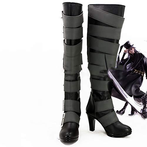 Gowell Anime Black Butler Under Taker Cosplay Schuhe, Unisex, PU, kniehohe Stiefel mit Reißverschluss, 39