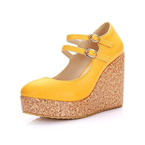 CosyFever Zapatos de Tacón Mary Jane Cuña Bajo conAnti Deslizante Parte Superior de Corte Bajo Tira Ajustable DC24 para Mujeres Amarillo - 35 EU
