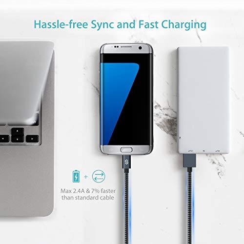 Syncwire Micro USB Kabel Nylon [2er-Pack, 2m], High Speed Sync und Schnellladekabel, USB Ladekabel kompatibel mit Samsung Galaxy, HTC, Huawei, Sony und Mehr - Schwarz
