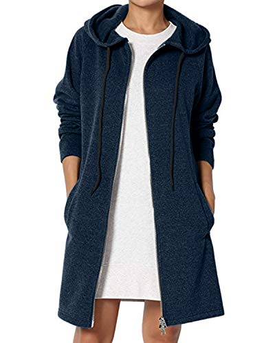Kidsform Damen Hoodie Herbst mit Reißverschluss Zip Hoodies Lose Kapuzenjacke Lang Sweatshirt Langen Mantel Blau L