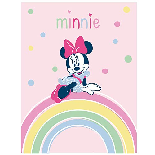Disney Minnie Mouse - Manta de forro polar (140 x 100 cm), diseño de arcoíris