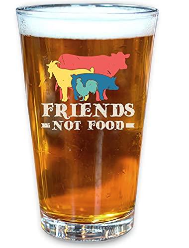 Friends Not Food Vegetarian Vegan Beer Pint Glass, 16 oz. Drinking Glass