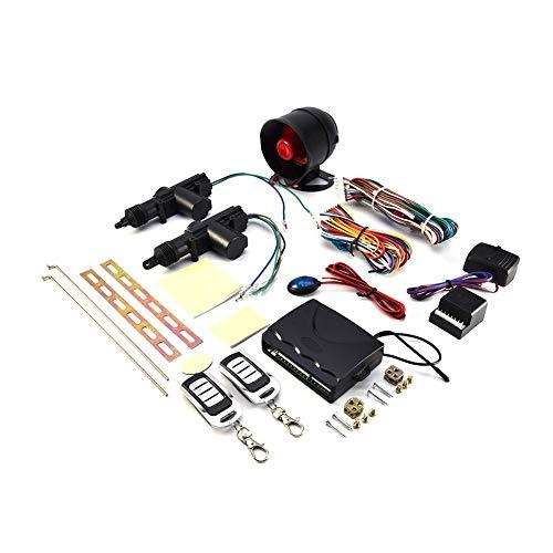 Auto Alarmanlagen,Auto-Diebstahlwarnanlage Universal Fahrzeug Fernbedienung Zentralverriegelung Keyless Entry System 2 Autotür-Fernbedienungs-Zentralverriegelungssatz + Diebstahlwarngerät-Werkzeugsatz
