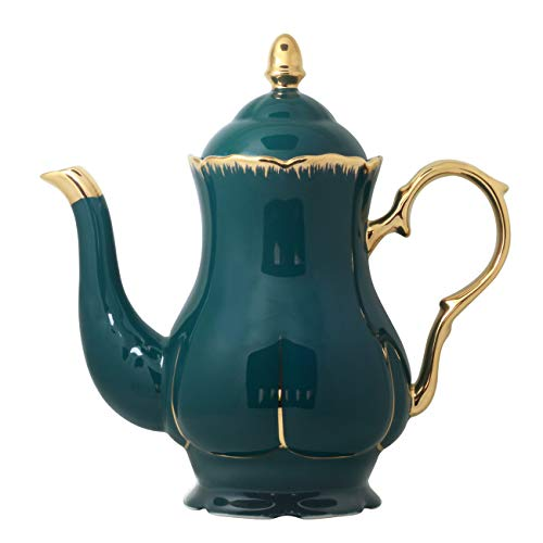Jomop Ceramic Teapot with Gold Trim Elegant Profile Decoration Extra Large Navy Green Housewarming Gift for Tea Lovers 46 Cups 1 Dark Green