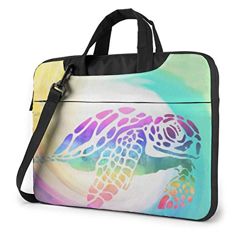 Laptop Bag 15.6 Inch Laptop Sleeve Case with Shoulder Straps & Handle/Notebook Computer Case Briefcase Compatible with MacBook/Acer/Asus/Hp - Tie Dye Sea Turtle