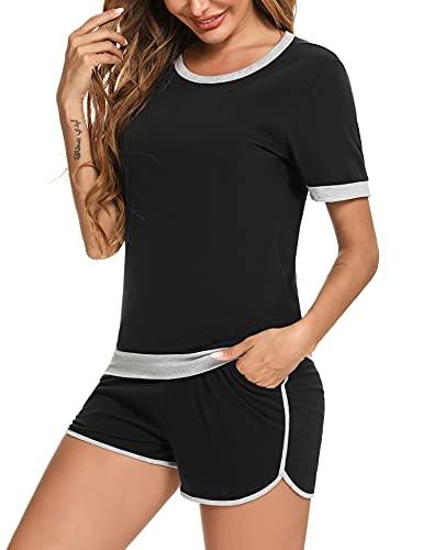 Irevial Donna 2 Pezzi Tuta da Sportivo, Completo Sportivo Estiva, Tute da Ginnastica da Donna, Scollo a contrasto in colore, Pantaloni Corti e T-shirt, per Corsa Yoga Fitness, Nero, S