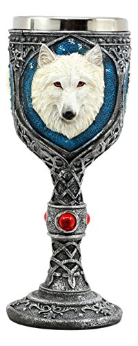 Ebros'Ghost' White Albino Snow Wolf Wine Goblet 7oz Direwolf Celtic Wine Chalice Goblet Cup