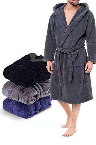 MIYOU YOUMI Robe de Chambre de Luxe pour Hommes Robe de Bain pour Hommes en Polaire Super Doux Vêtements de Salon et de Nuit en Peluche à Capuche Unisexe Peignoir S-XXXL