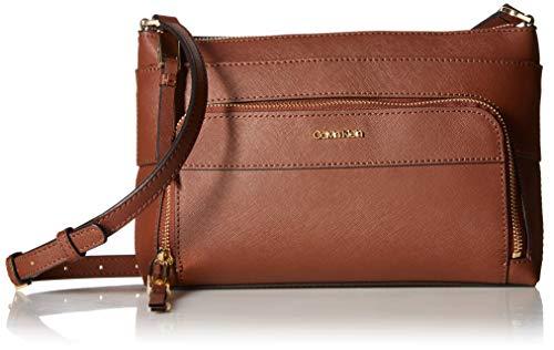 Calvin Klein Damen Lily Saffiano Leather Top Zip Crossbody Leder-Oberteil mit Reißverschluss, walnuss, Einheitsgröße