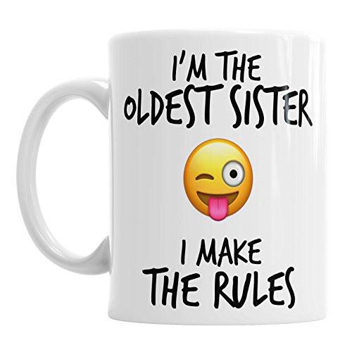 Gift Original Lustige Emoji-Kaffeebecher mit Aufschrift Oldest Sister Rules, Geschenk