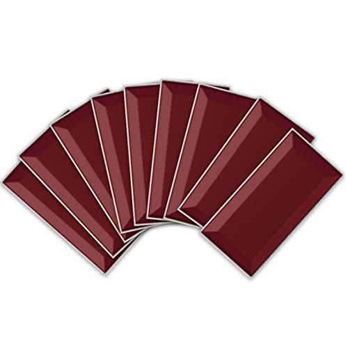 ENCOFT 27 Piezas Adhesivo para Azulejos Rectangular en PVC Efecto 3D Pegatinas de Baldosas Azulejos Autoadhesivo Impermeable para Cocina Baño Color Sólido Rojo 20x10cm