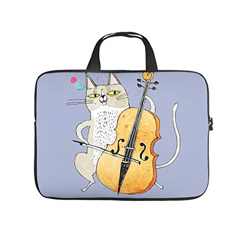 Cat Playing Violin Printed Laptop Bag Protective Cover Dustproof Neoprene Laptop Case Bag Stylish Notebook Bag for Laptop
