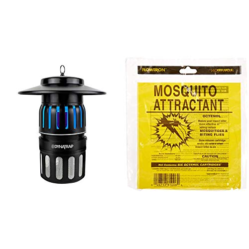 DynaTrap DT1050 Insect Half Acre Mosquito Trap, 3 lbs, Black & Flowtron MA-1000-6 Octenol Mosquito Attractant Cartridges, 6-Pack