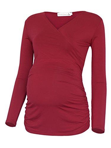 Black Cherry Women's Long Sleeve Side Ruching Maternity Tunic Top T-Shirt…