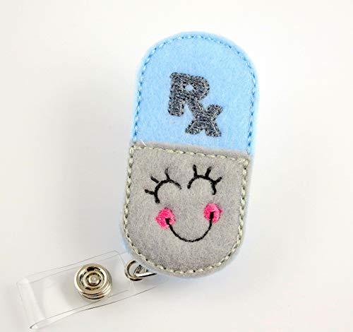 Smiley RX Pill - Nurse Badge Reel - Retractable ID Badge Holder - Nurse Badge - Badge Clip - Badge Reels - Pediatric - RN - Name Badge Holder