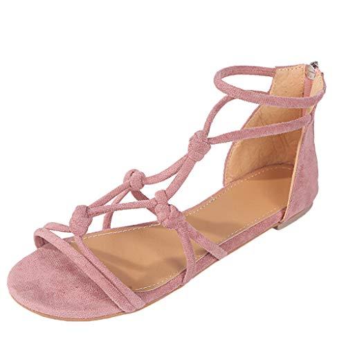 Dasongff Vrije tijd Cross Strap Buckle Romeinse sandalen kwaliteit vlak met ritssluiting 35-43