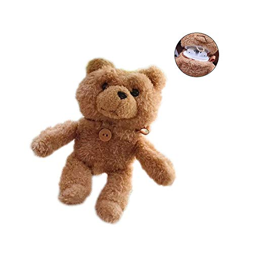 Compatible AirPods 1&2 Case Teddy Bear Creative Cute Solid Color Light Brown Anti-Fall Bag with Safety Buckle Silicone AirPods Protective Cover with Buttons (1&2Generation)