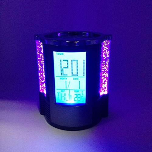 DAMAI STORE Multifuncional Creativo Reloj Despertador Colorido Calendario Electrónico Titular De La Pluma De Publicidad Oficina De Negocios Titular De La Pluma