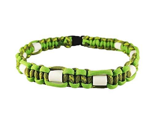 EM-Keramik Halsband für Hunde, mit Name möglich, verschiedene Größen wählbar, original EM-X-Keramik-Pipes, hellgrün/dunkelgrün gemustert