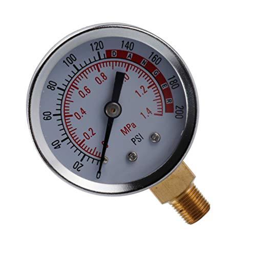 ULTECHNOVO Medidor de Presión Lleno de Líquido Agua Aceite Gas Medidor de Presión Medidor de Reemplazo con Conexión Inferior (0-1. 4Mpa 0-200Psi)