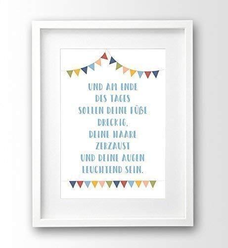 Spruch Kinder Bild ungerahmt A4, Wimpel, Geschenk Geburt, Taufgeschenk
