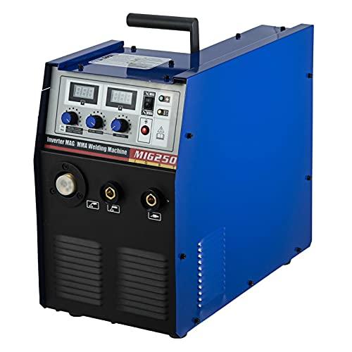 YXZQ Maquina de soldar electrica MIG-250 250AMP MIG/MMA 2-IN-1 inversor DC Soldador IGBT Gas/Alimentador de Alambre Incorporado sin Gas 20-45A Herramientas de Soldadura