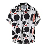 Topkal - Camisa hawaiana para hombre, manga corta, para verano, con botones Negro  L