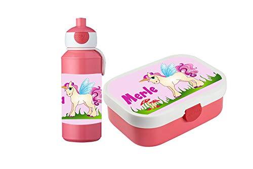 wolga-kreativ Brotdose Obsteinsatz Bento Box und Trinkflasche auslaufsicher BPA frei für Kinder...