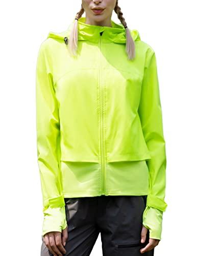 Women's Cycling Jacket Waterproof Windbreaker Raincoats Packable Quick Dry Active Running Jacket with Hideaway Hood