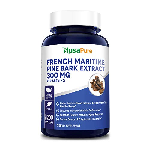 French Maritime Pine Bark Extract 300mg 200 Veggie Capsules (Non-GMO & Gluten Free) Supports Heart Health, Circulatory Health, Skincare, 150mg per Caps