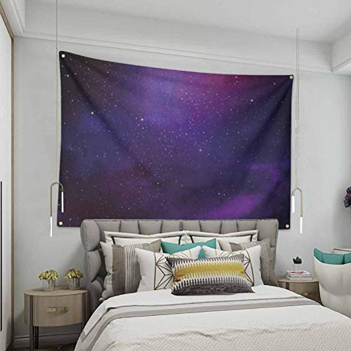 VVA Sky Simple tapestryGalaxy Nebula Illustration Deep Space Star Clusters and Constellation Milky WayFashion Home Decoration Wall Blanket Dormitory Living Room Bedroom Purple Pink Black