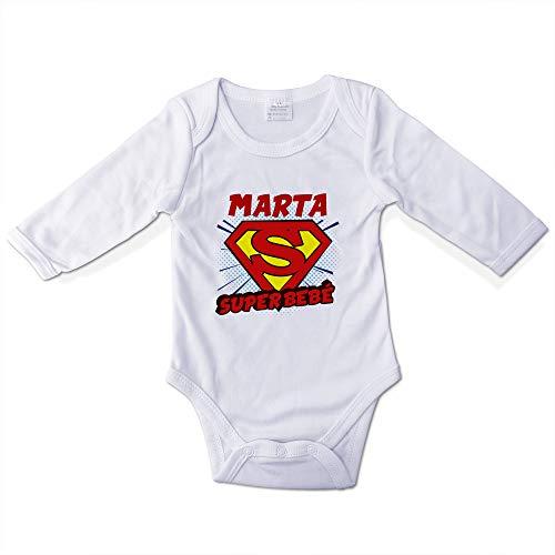 Body Personalizado Bebé con Nombre. Regalos Personalizados para Bebés. Bodies Personalizados Manga Larga. Varias Tallas. Super Bebé