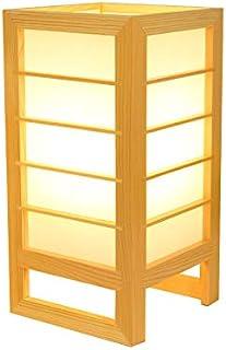 YU-K Lámpara de mesa de tatami de estilo japonés y sala Lámpara de madera maciza lámpara de mesa de cabecera de dormitorio...