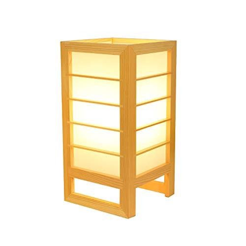 YU-K Japanischen stil und zimmer lampe tatami tischlampe massivholz einfache kreative holz lampe schlafzimmer nachttischlampe, 15 * 15 * 30 cm, warmes licht