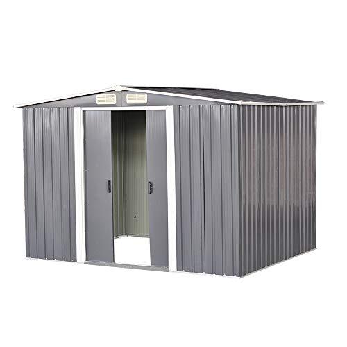 Garden Sheds Tool Storage House Metal Garden Apex Roof Storage Shed (Grey, 10x8)