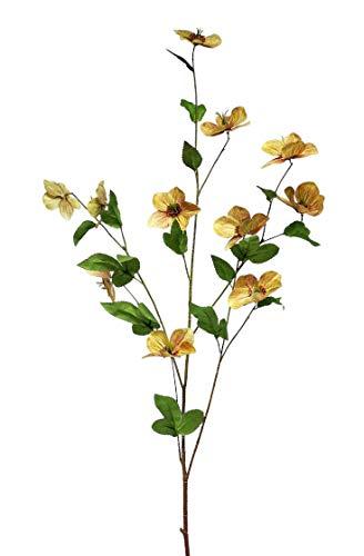 Van Manen Planta artificial Helleborus, 114 cm, seda verde/amarillo