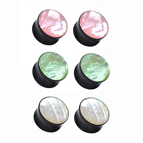 Jboyanpei Túneles y dilatadores de oreja de color natural con forma de concha de acrílico, tamaño de 6 mm a 30 mm