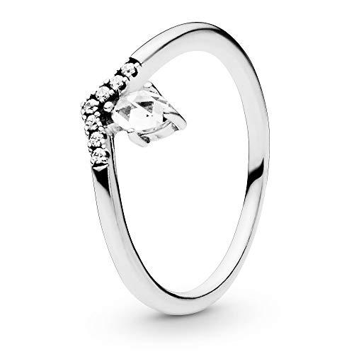 Pandora Jewelry Anillo clásico con circonita cúbica en plata de ley, tamaño 3