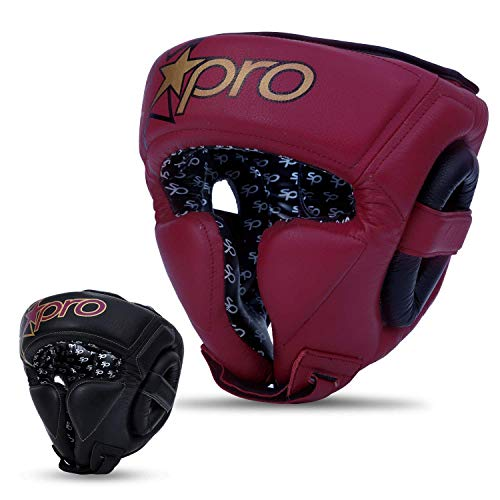Starpro Boxing Protector Headgear | Finest Lightweight Foam Padded Genuine Soft Leather Sparring Headgear for Muay Thai, Kickboxing, UFC Fight, Ringside Competition (Maroon/Black, M)