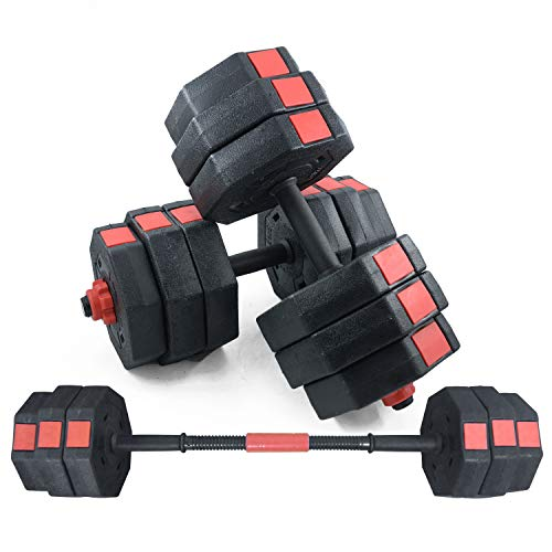 SogesPower Adjustable Dumbbells, Pair Packing Octagonal Designed Dumbbells for Home Gym Body Workout,Black SPHS-YL001-30-CA