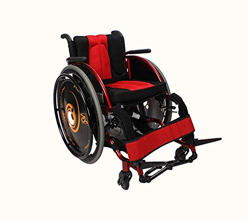 WLG Sillas de ruedas deportivas de moda 13.2 kg Silla de transporte ultraligera Brazos cómodos y piernas de elevación para descansar Entrenamiento de rehabilitación de carga de 100