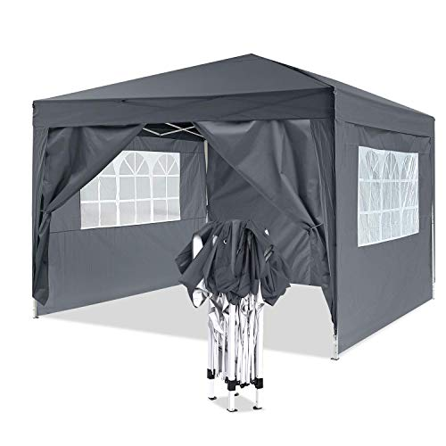 YUEBO Pavillon 3x3, Wasserdicht Faltbare Gartenpavillon Festival Sonnenschutz Faltpavillon mit 4 Seitenteilen und Tragetasche (Weiß)