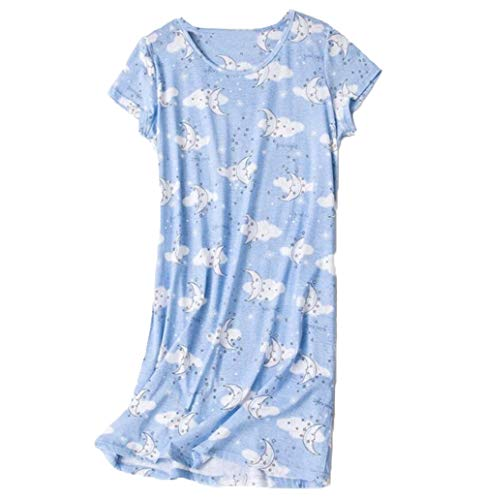 PNAEONG Amoy-Baby Womens Nightgowns Short Sleeves Cotton Sleepwear Print Sleep Shirt XTSY108-Pink Cat-XL
