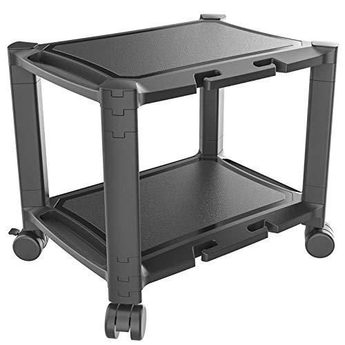 PUTORSEN Supporto per stampante da tavolo con ruote, carrello per stampante, carrello per macchine da ufficio impilabile regolabile in altezza con supporto per tablet e telefono, fino a 20 kg