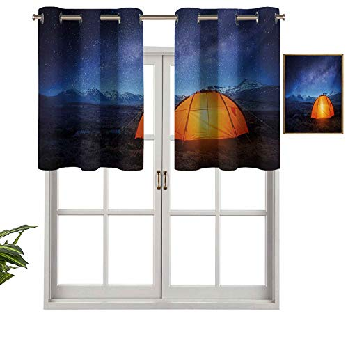 "Insulated Thermal 100% Blackout Curtains Valance Camping Tent Under a Night Sky Full of Stars Holiday Adventure Exploring Outdoors, Set of 1, 50""x18"" for Bedroom with Grommets"