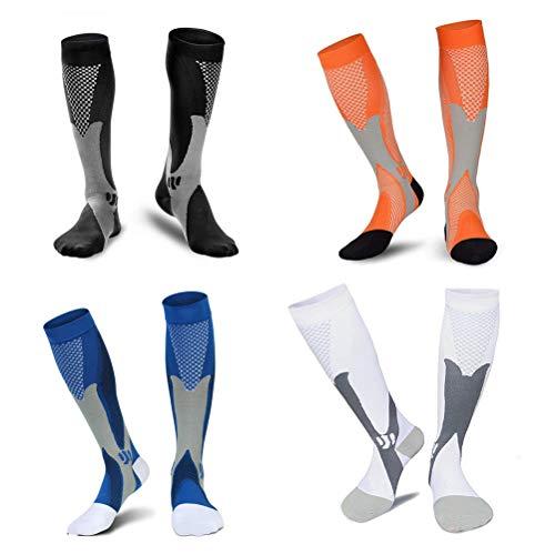 4pares de medias de compresión para hombre & mujer–Calcetines de compresión para deporte/correr/Enfermos Hermanas/Vuelos/viajes/Embarazo/medicinal