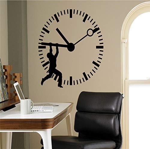 Etiqueta De La Pared Hombre Silueta Detener El Tiempo Arte Etiqueta De La Pared Reloj Estampado Oficina En Casa Negocios Vinilo Decorativo Mural De Pared 56 * 56 Cm