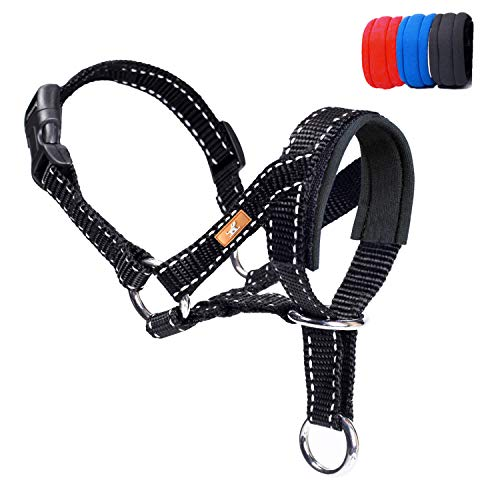 wintchuk Dog Head Collar, Head Collar with Reflective Strap to Stop Pulling for Small Medium and Large Dogs, Adjustable (M, Black)