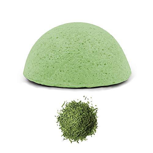 Esponja Konjac Exfoliante Suave Facial Natural, Orgánico, Bio, Ecológico, Vegano, Cuidado de la Piel, con Antioxidantes, AntiAging, AntiRadicales Libres, AntiEnvejecimiento - Té Verde